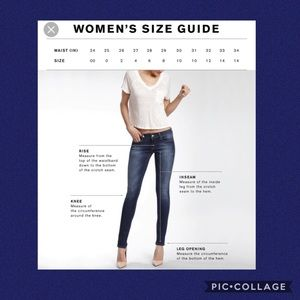 Jeans sizing guide 🌻
